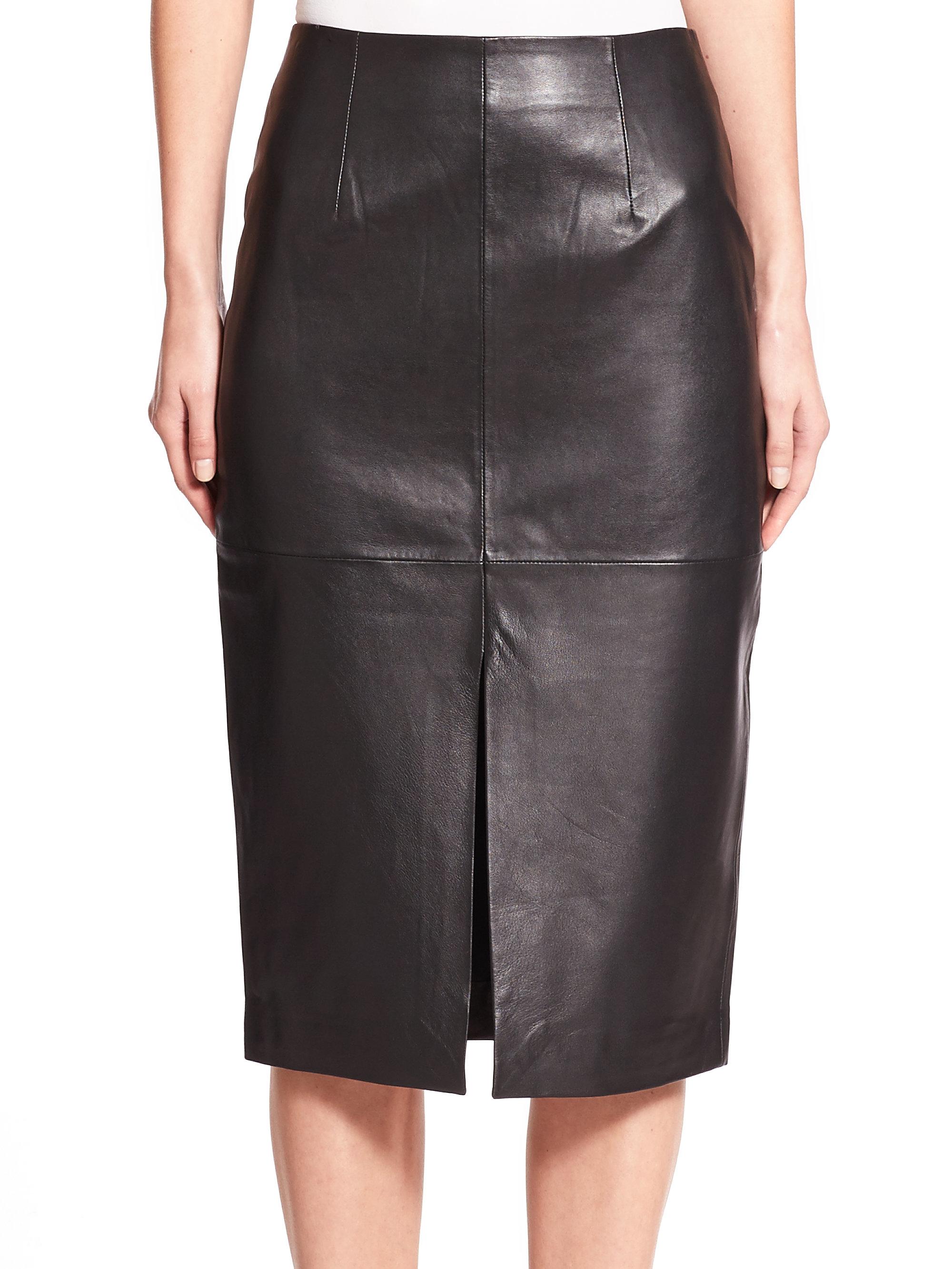 nicholas leather slit pencil skirt in black lyst
