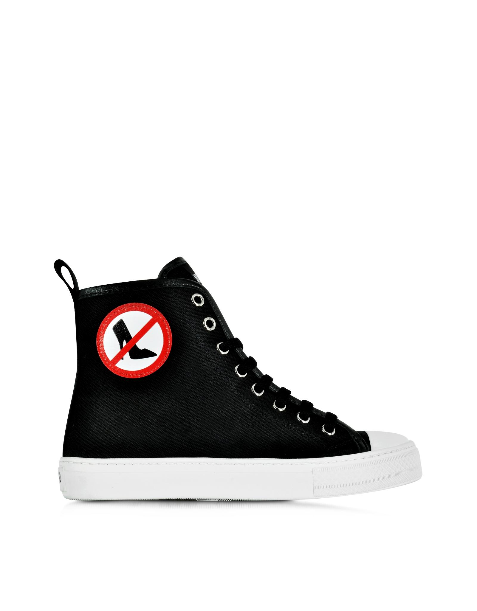 moschino no heels black canvas high top sneaker in