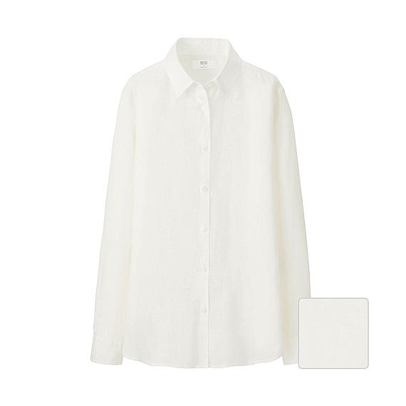Uniqlo Women Premium Linen Long Sleeve Shirt In White Lyst