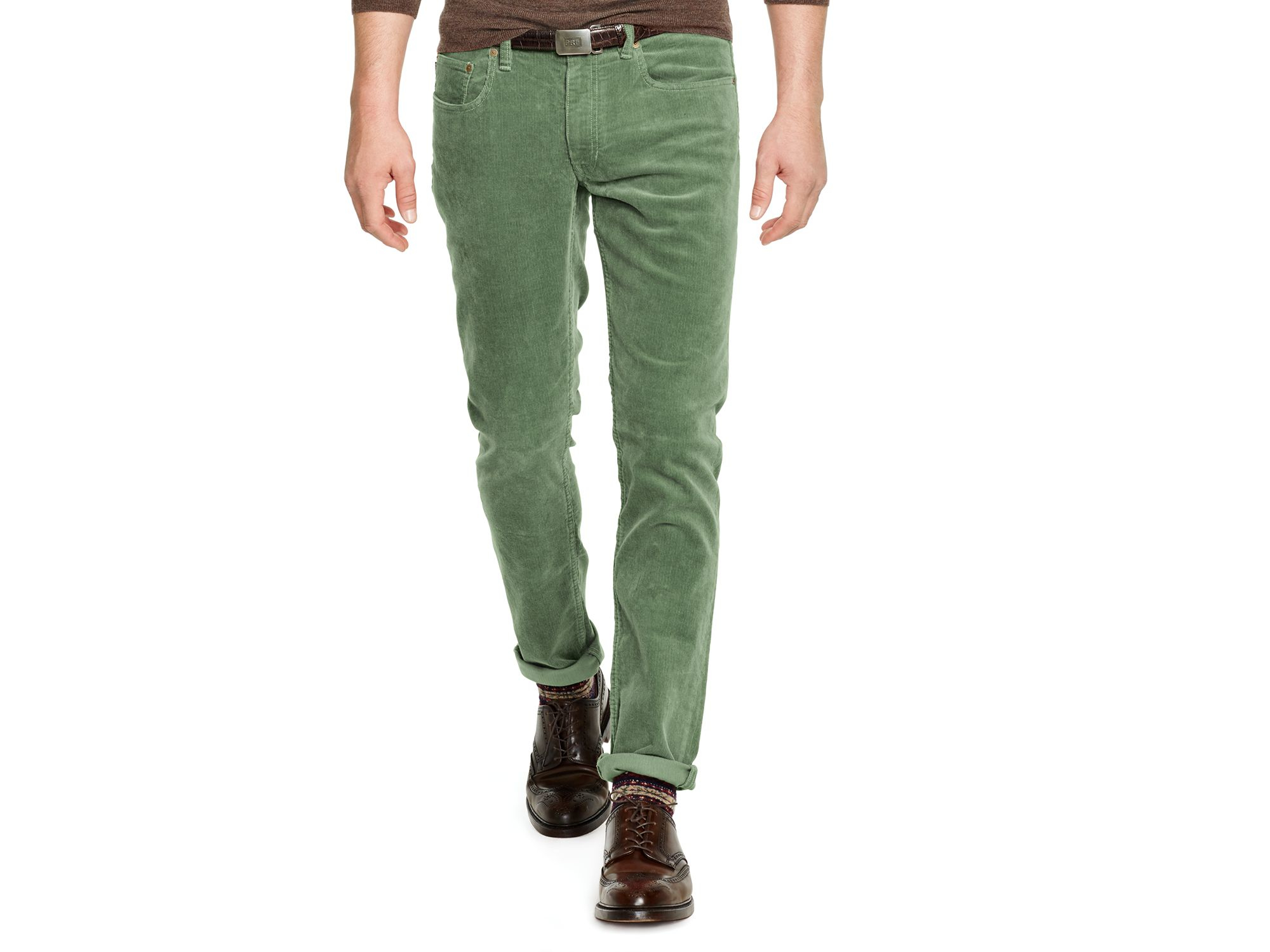 ralph lauren polo varick slim fit cotton corduroy pants in green for. Black Bedroom Furniture Sets. Home Design Ideas