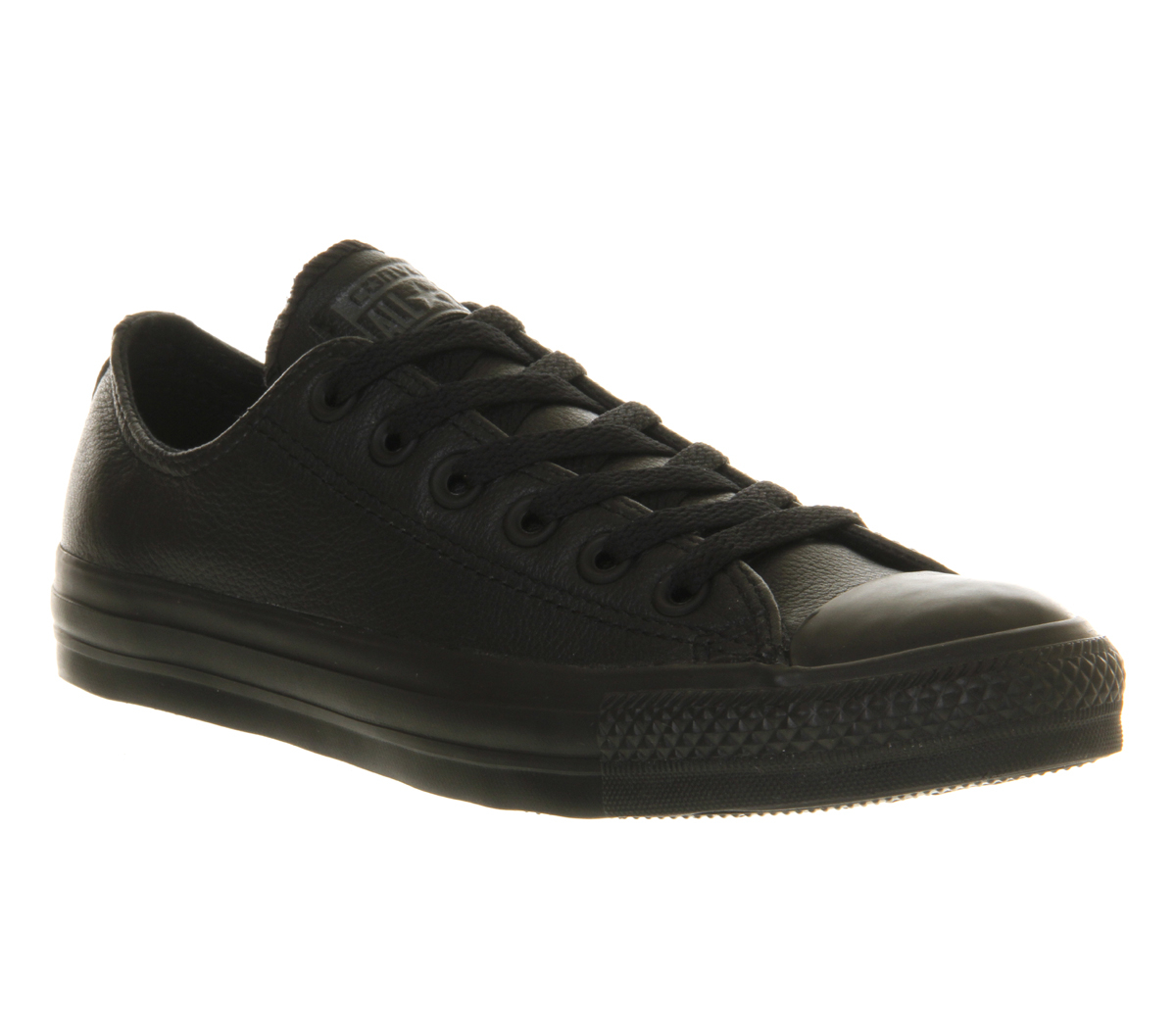 converse all low leather in black for lyst