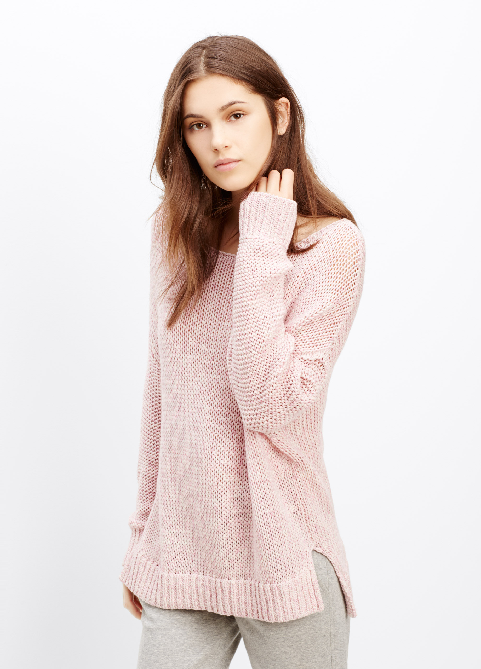 Vince Drop Shoulder Mélange Cotton Sweater in Pink | Lyst
