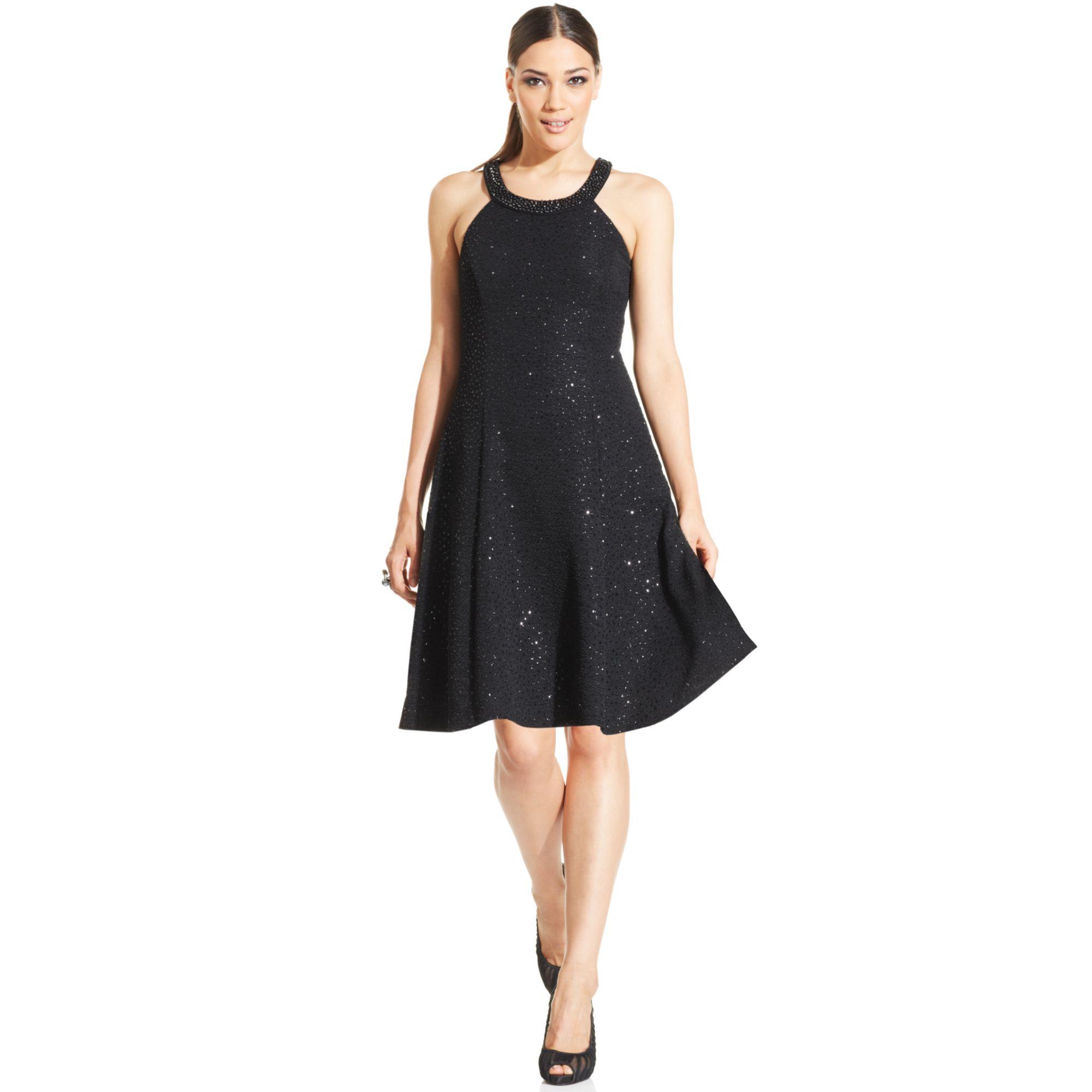 Betsy Amp Adam Embellished Textured Halter Dress In Black Lyst