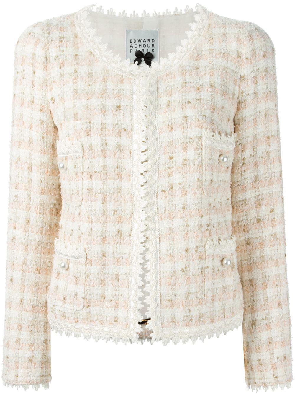 96930539d08f6 Lyst - Edward Achour Paris Classic Tweed Jacket in Natural
