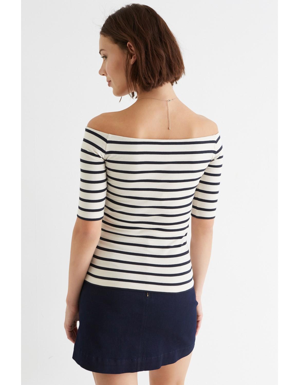 998fc54f5b0 Oasis Stripe Bardot Top in Blue - Lyst