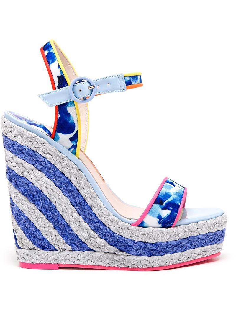 sophia webster lucita printed espadrille wedge sandal in white lyst