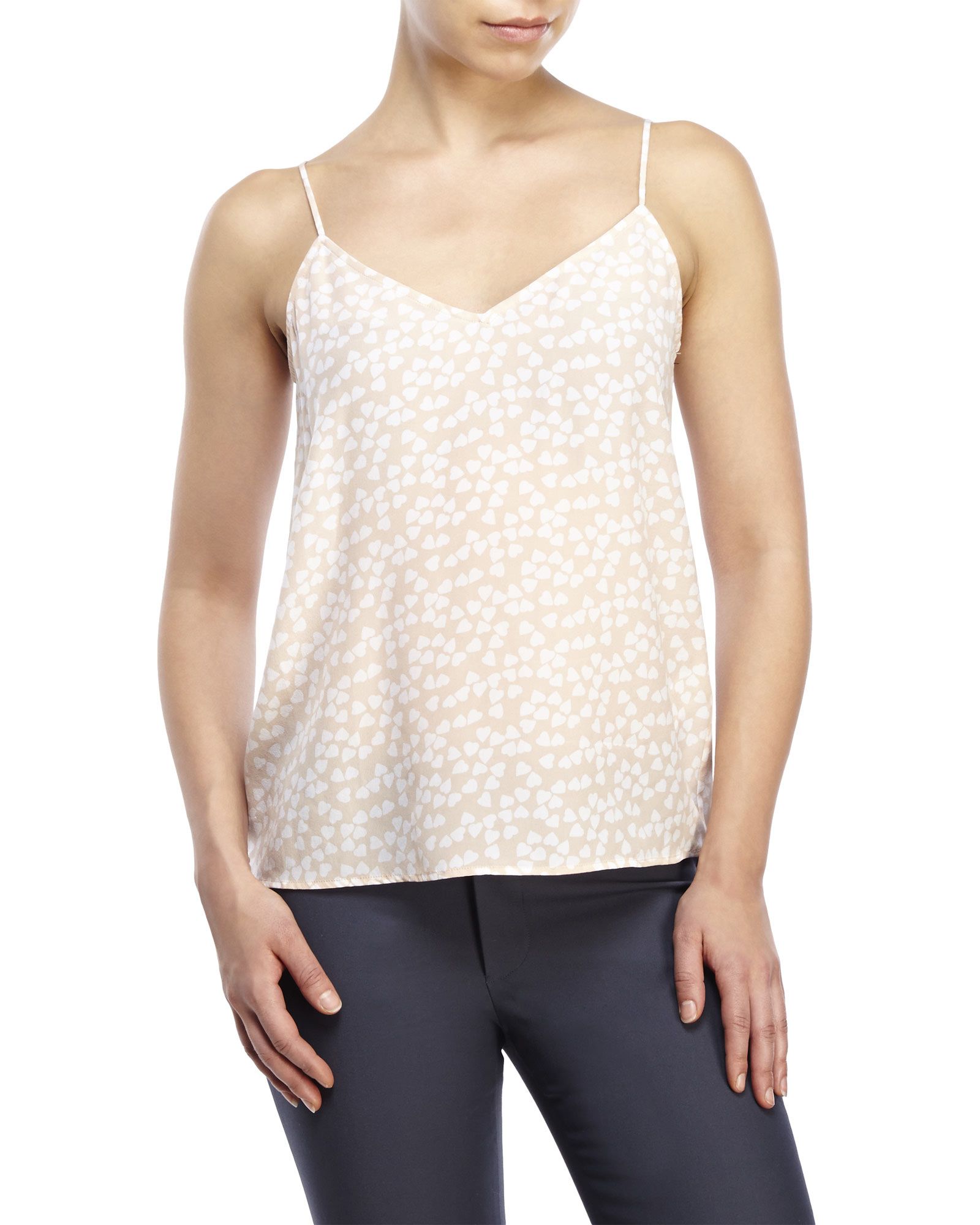Lyst Equipment Layla Printed Silk Cami In Natural