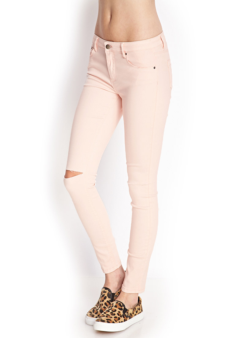 Forever 21 Ripped Skinny Jeans in Pink | Lyst