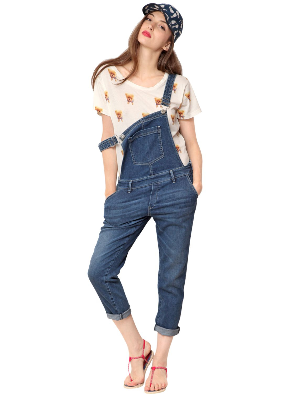 Lyst Paul Amp Joe Stretch Denim Capri Overalls In Blue
