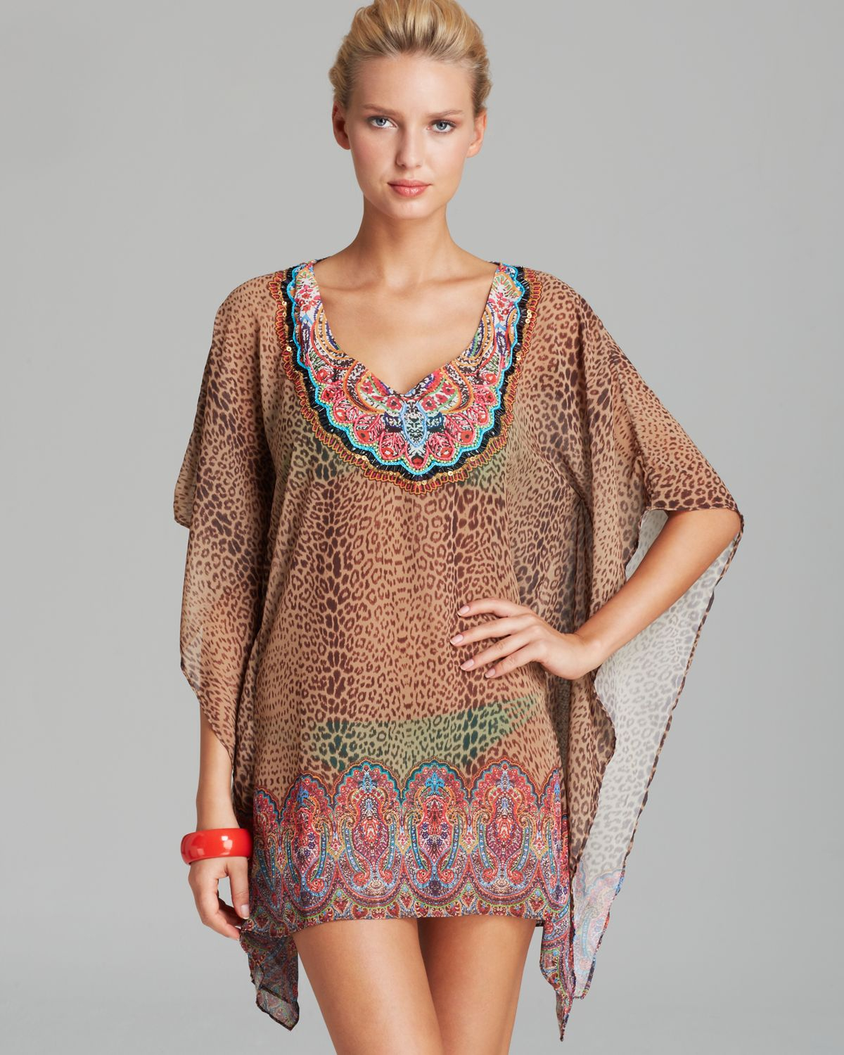 Pilyq Raja Breezy Embroidered Swim Cover Up Tunic In Brown