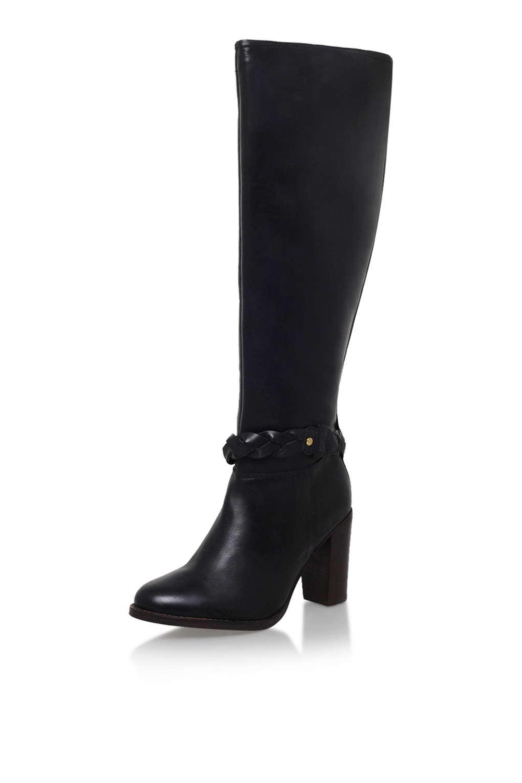 topshop vienna black high heel knee boot by miss kg in