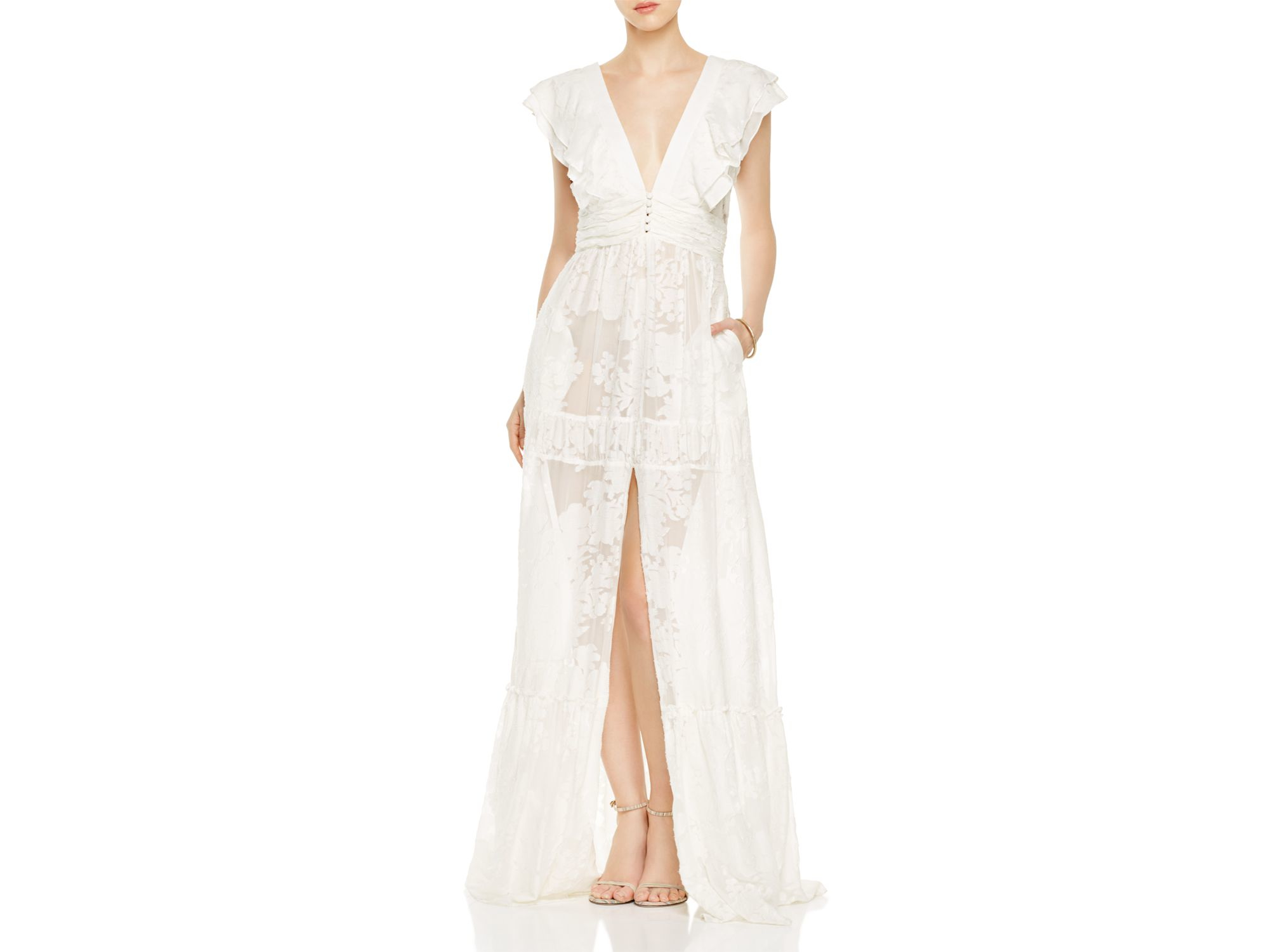 Lyst - Rachel Zoe Rory Floral Fil Coupe Gown in White
