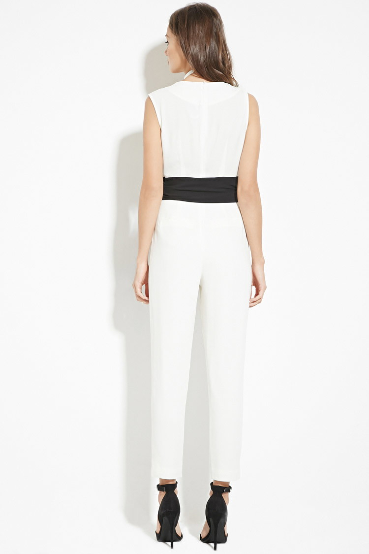 d50486be137c Lyst - Forever 21 Contemporary V-neck Jumpsuit in White