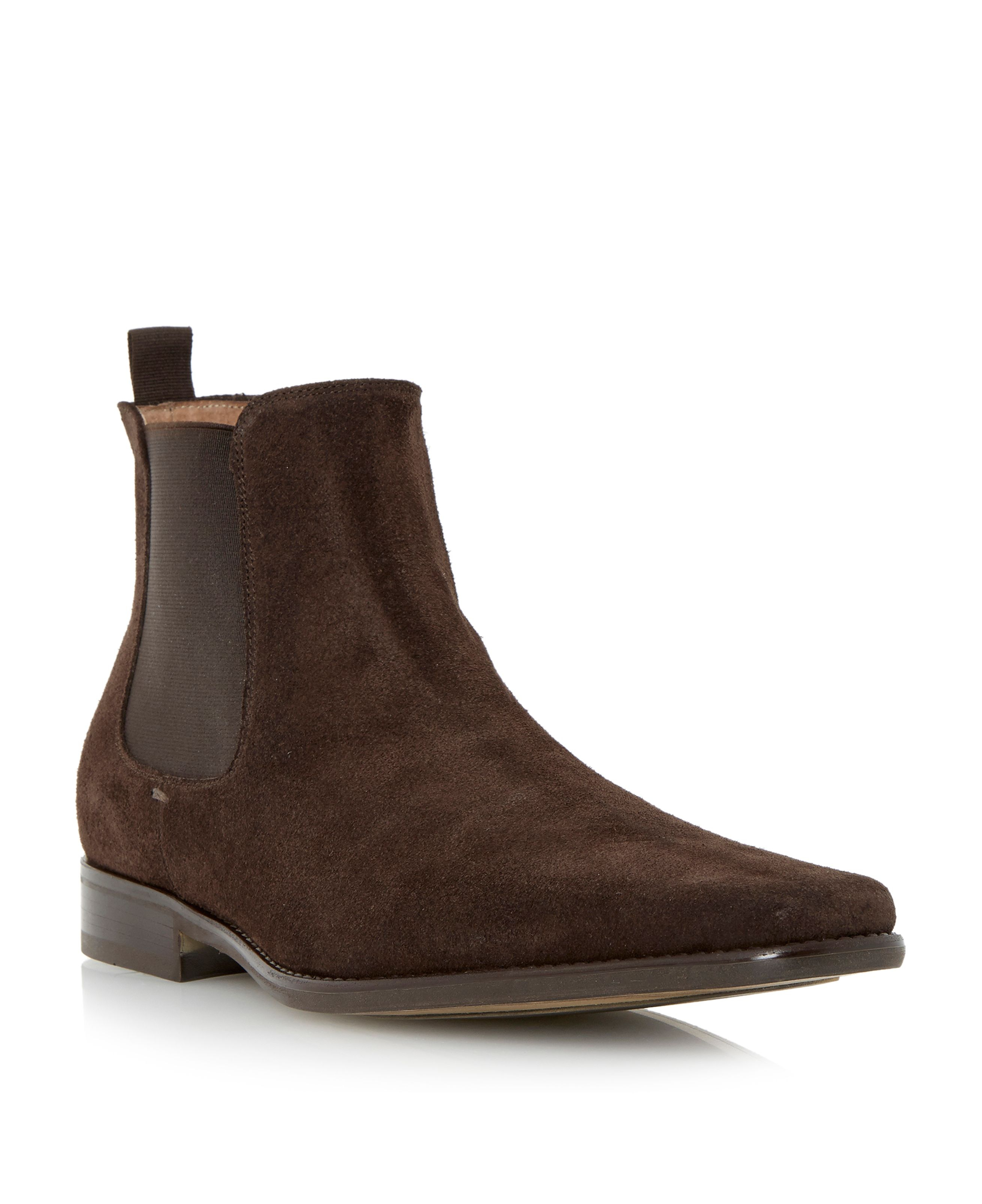 Roland Cartier Clarky Suede Chelsea Boots In Brown For Men