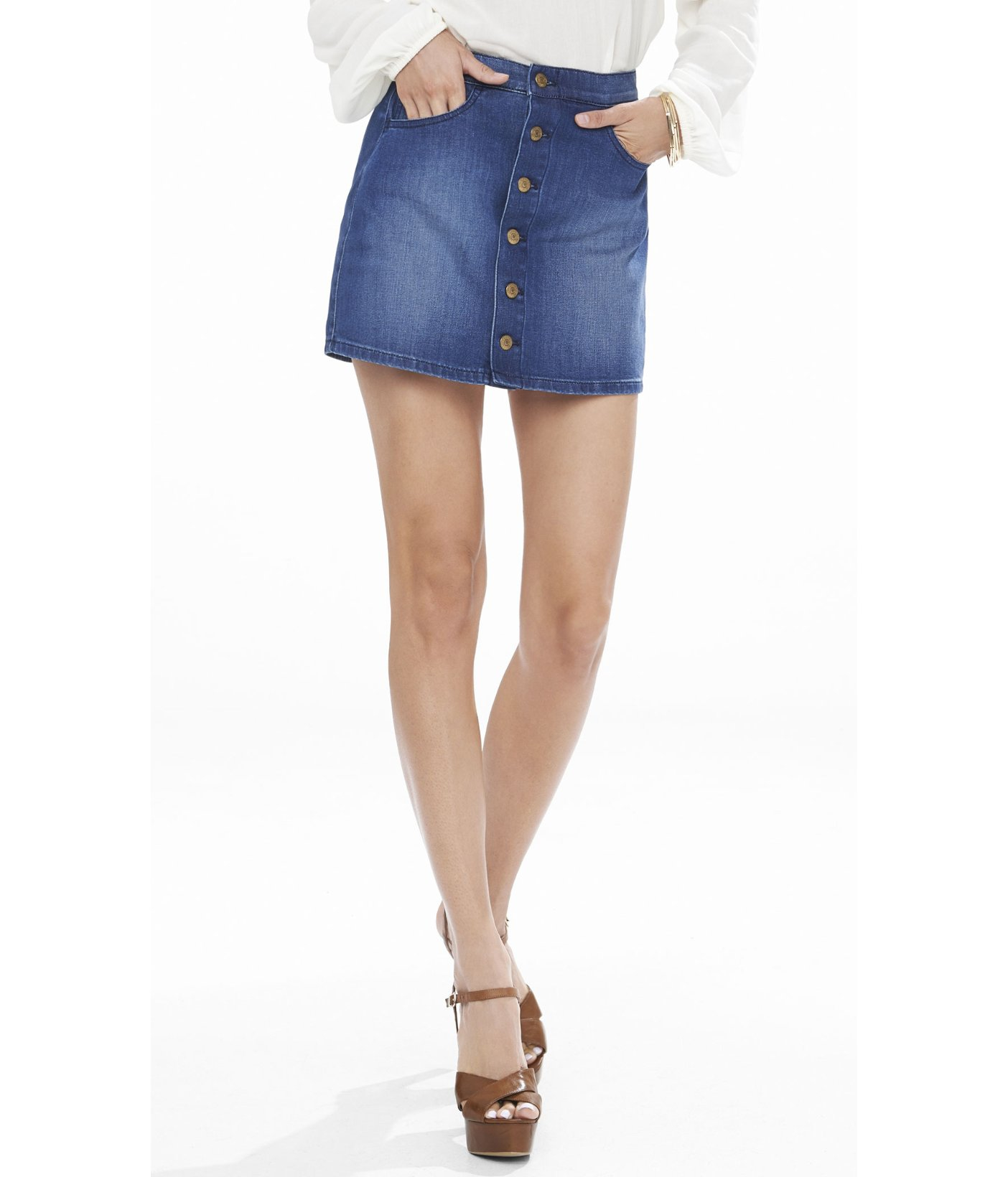 express denim a line button front mini skirt in blue lyst