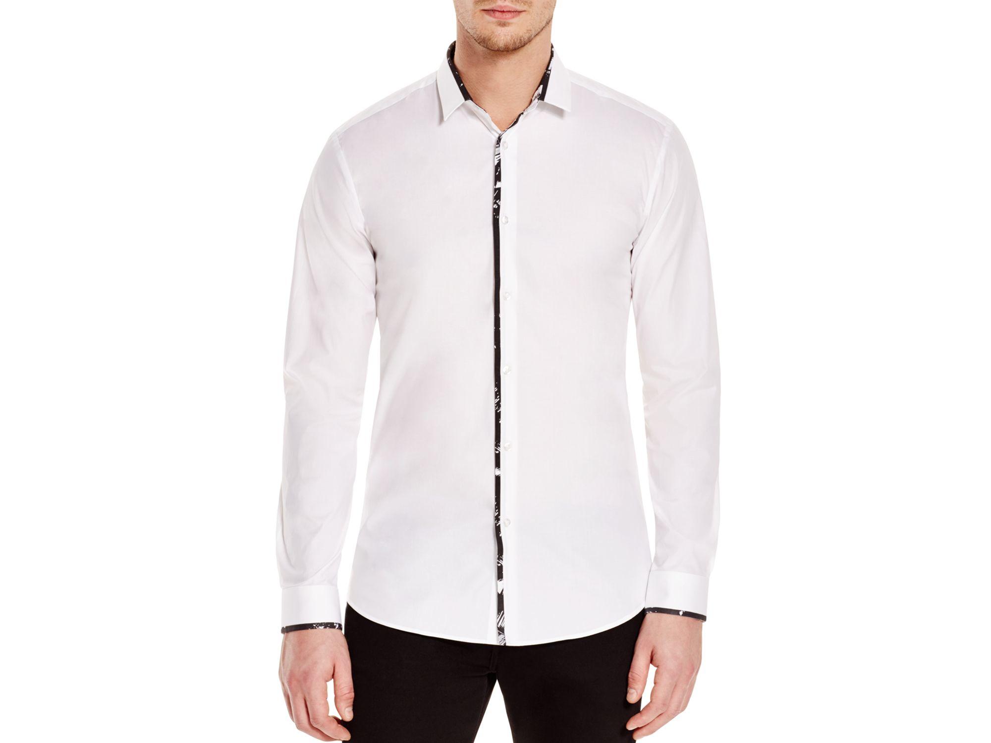 Hugo contrast trim slim fit button down shirt in white for for Slim fit white button down shirt