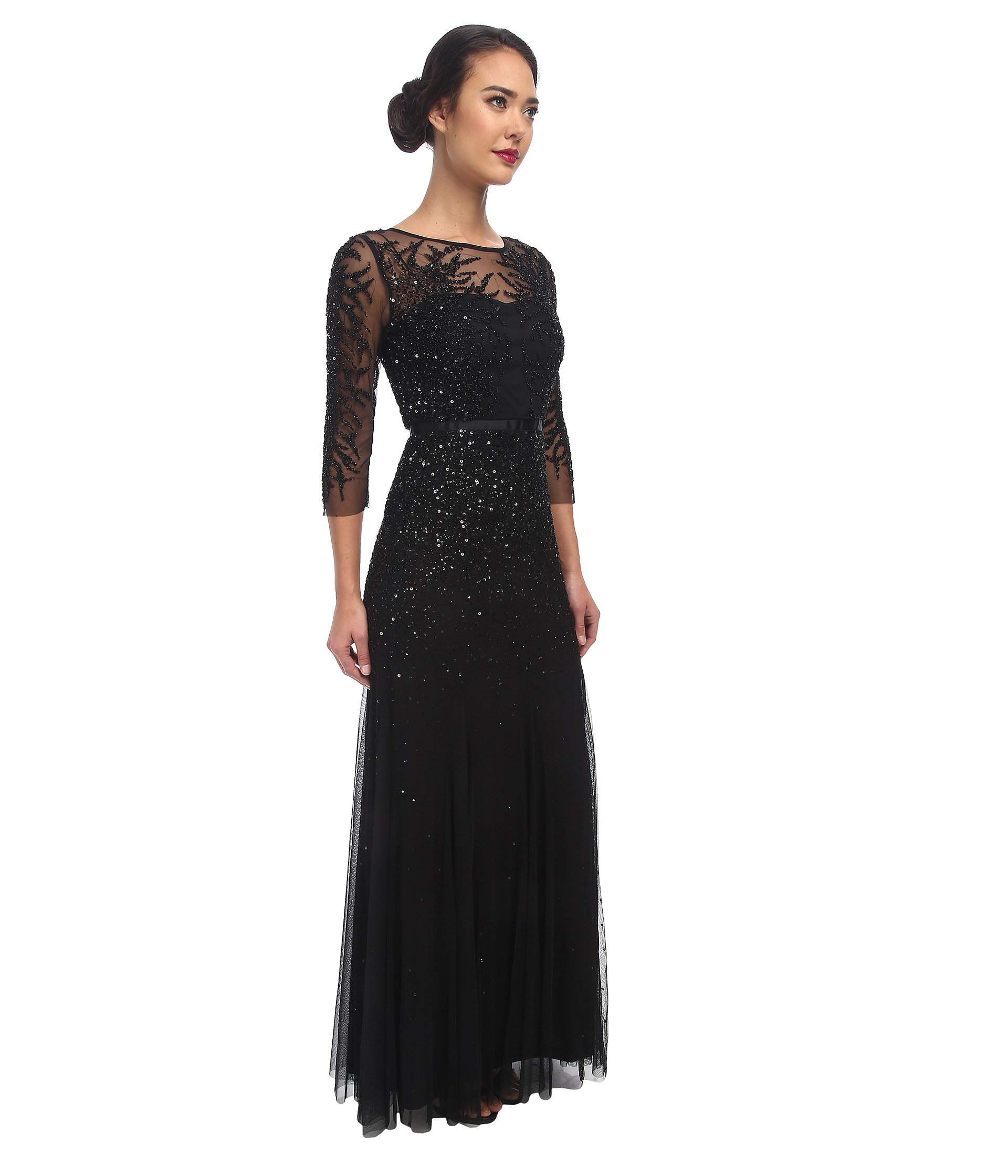 Lyst - Adrianna Papell Long Sleeve Beaded Gown in Black