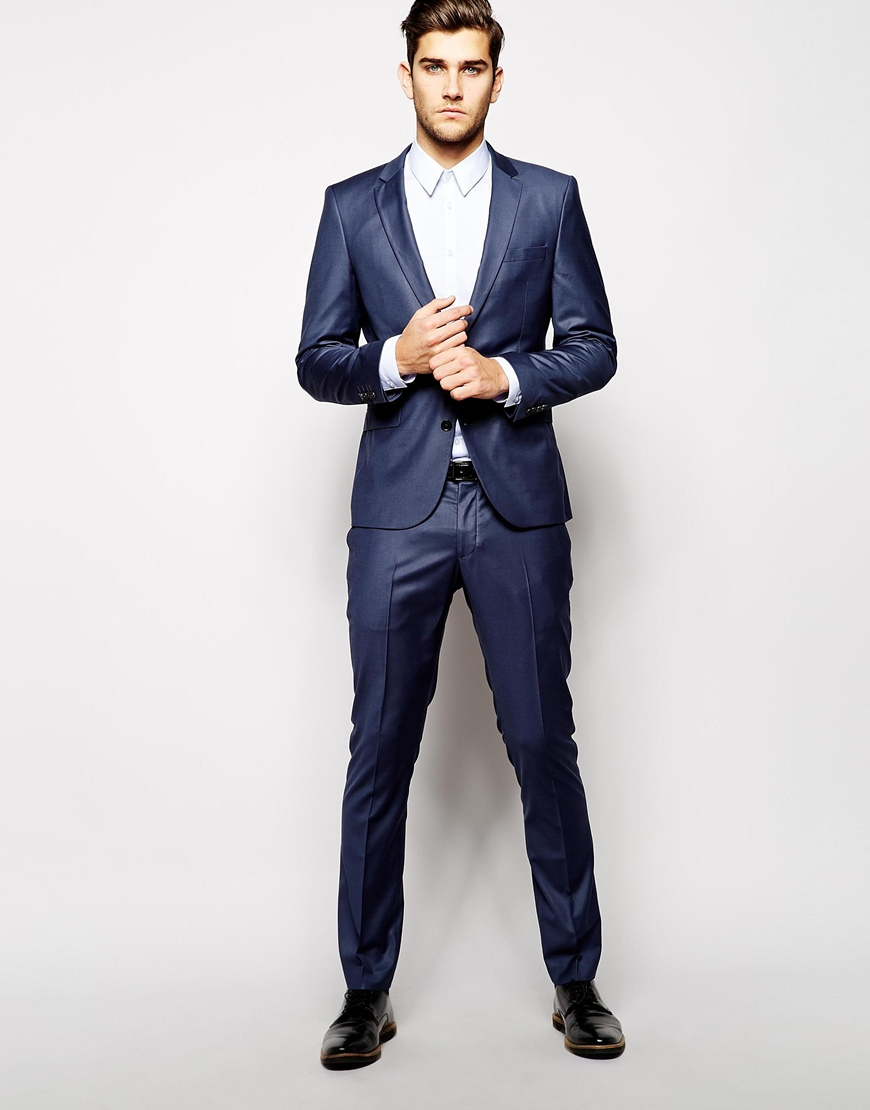 Selected Selected Indigo Suit Trousers In Skinny Fit in Black for ...