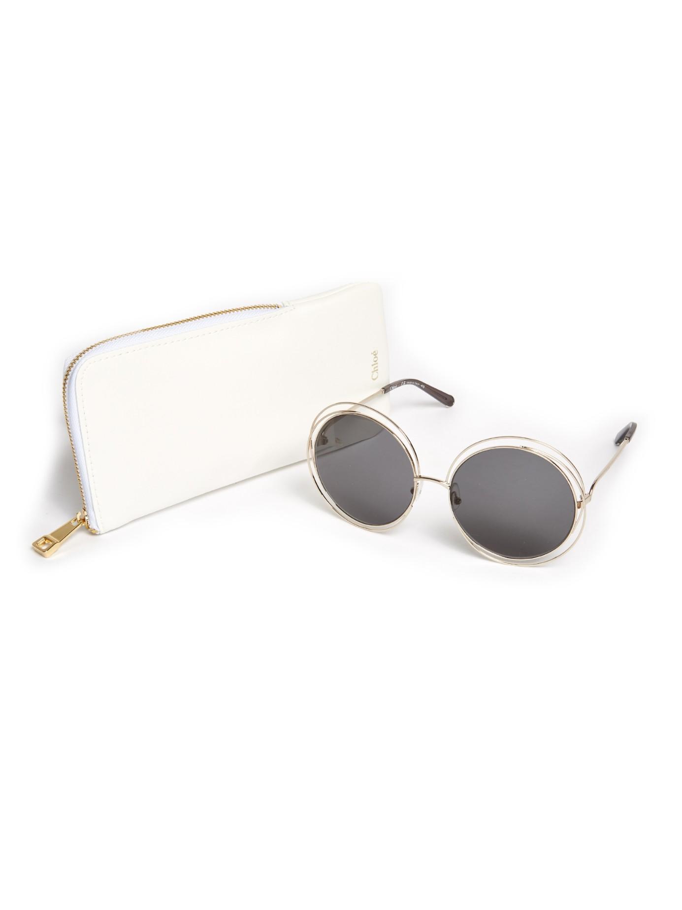 Lyst - Chloé Carlina Round-framed Sunglasses in Metallic