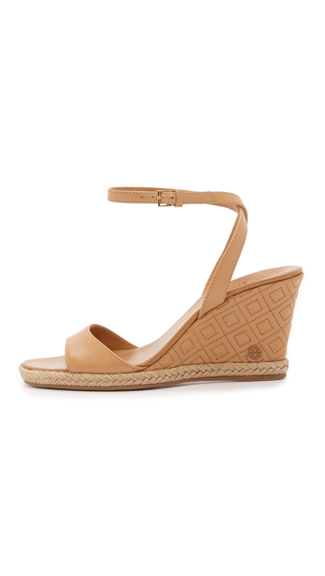 d76957106 Lyst - Tory Burch Marion Quilted Wedge Sandals in Natural
