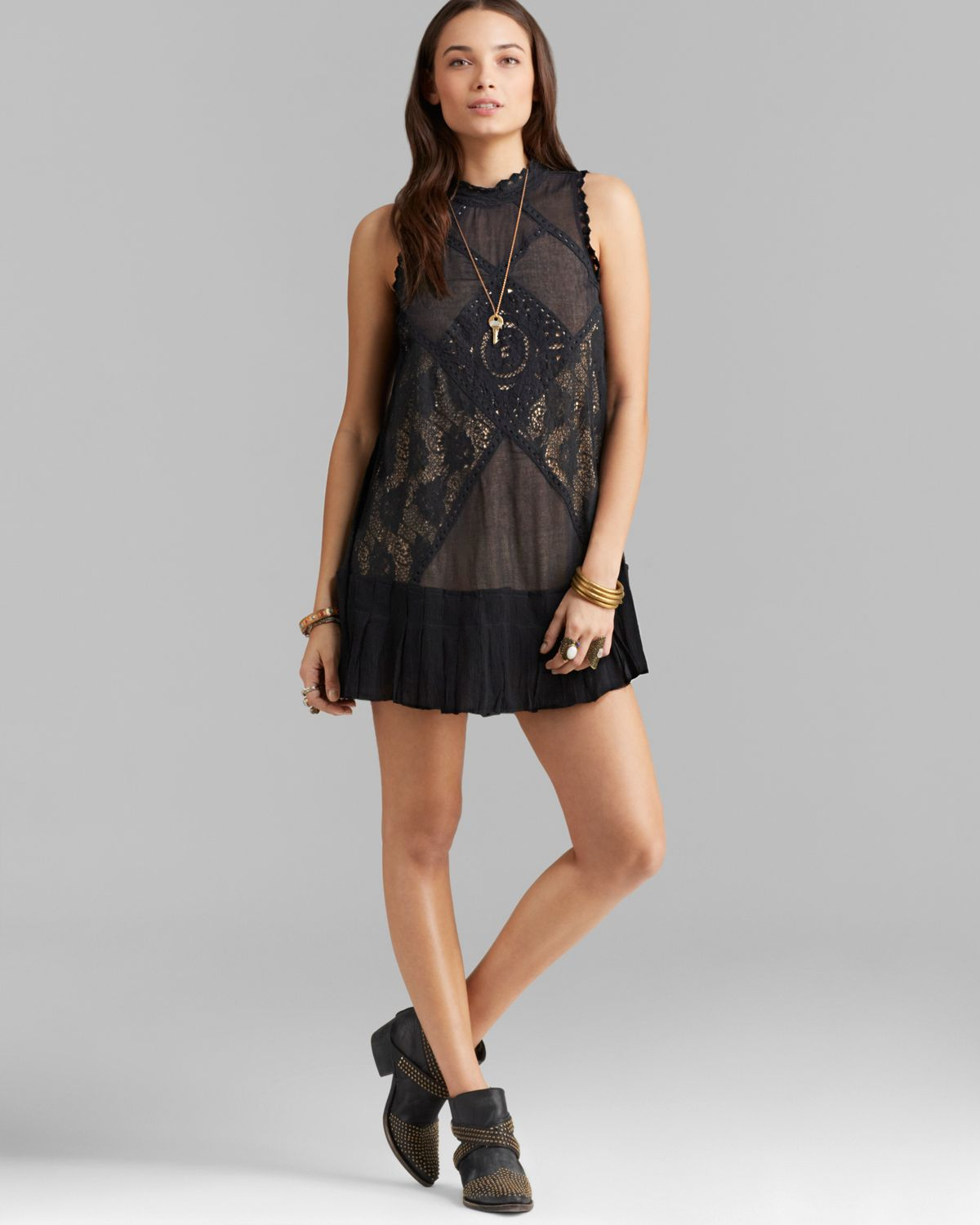 Free People Dress Angel Lace in Black - Lyst 5bc62efa9d5d