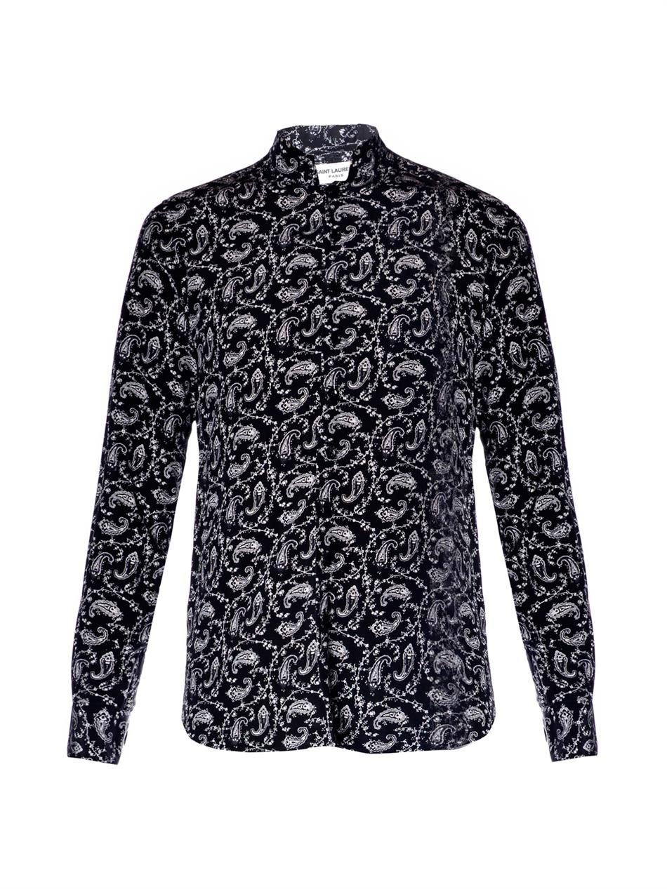 Saint laurent star print shirt in blue lyst for Saint laurent shirt womens