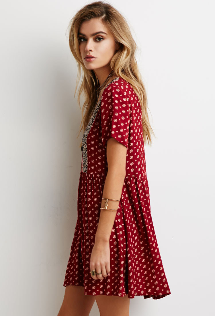 Forever 21 Abstract Floral Print Babydoll Dress in Red