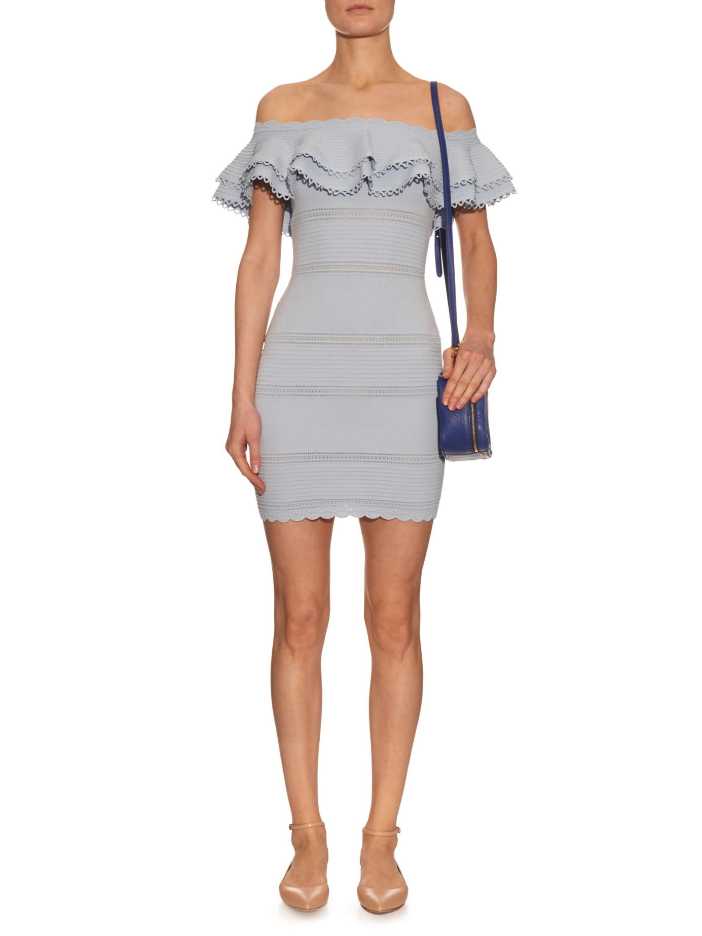 ed9b983d62b2 Lyst - Alexander McQueen Off-the-Shoulder Mini Dress in Blue