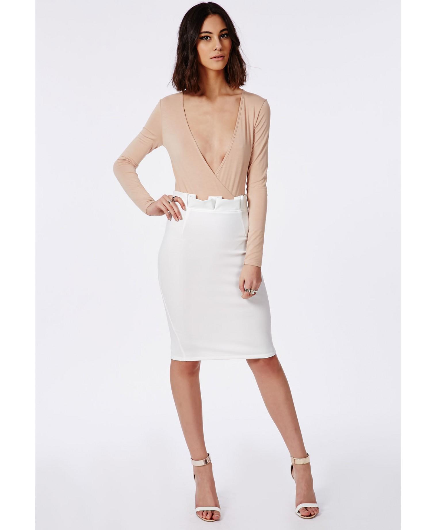 missguided pleat waist midi skirt white in white lyst