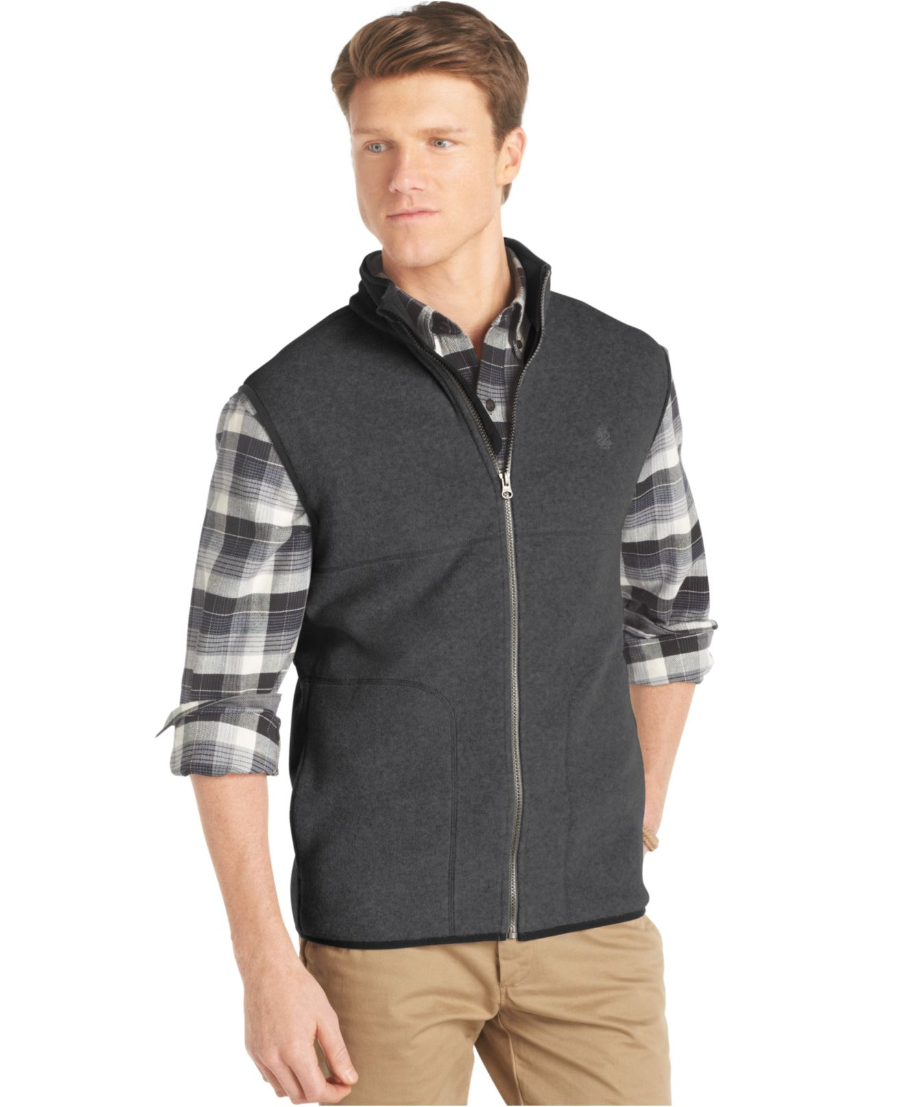 Izod Big And Tall Full Zip Polar Fleece Vest In Gray For
