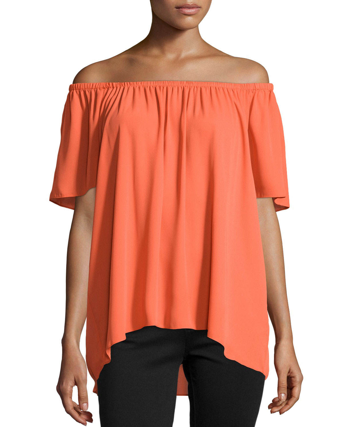 24a2ae65678a Lyst - Vince Camuto Chiffon Off-the-shoulder Blouse in Orange