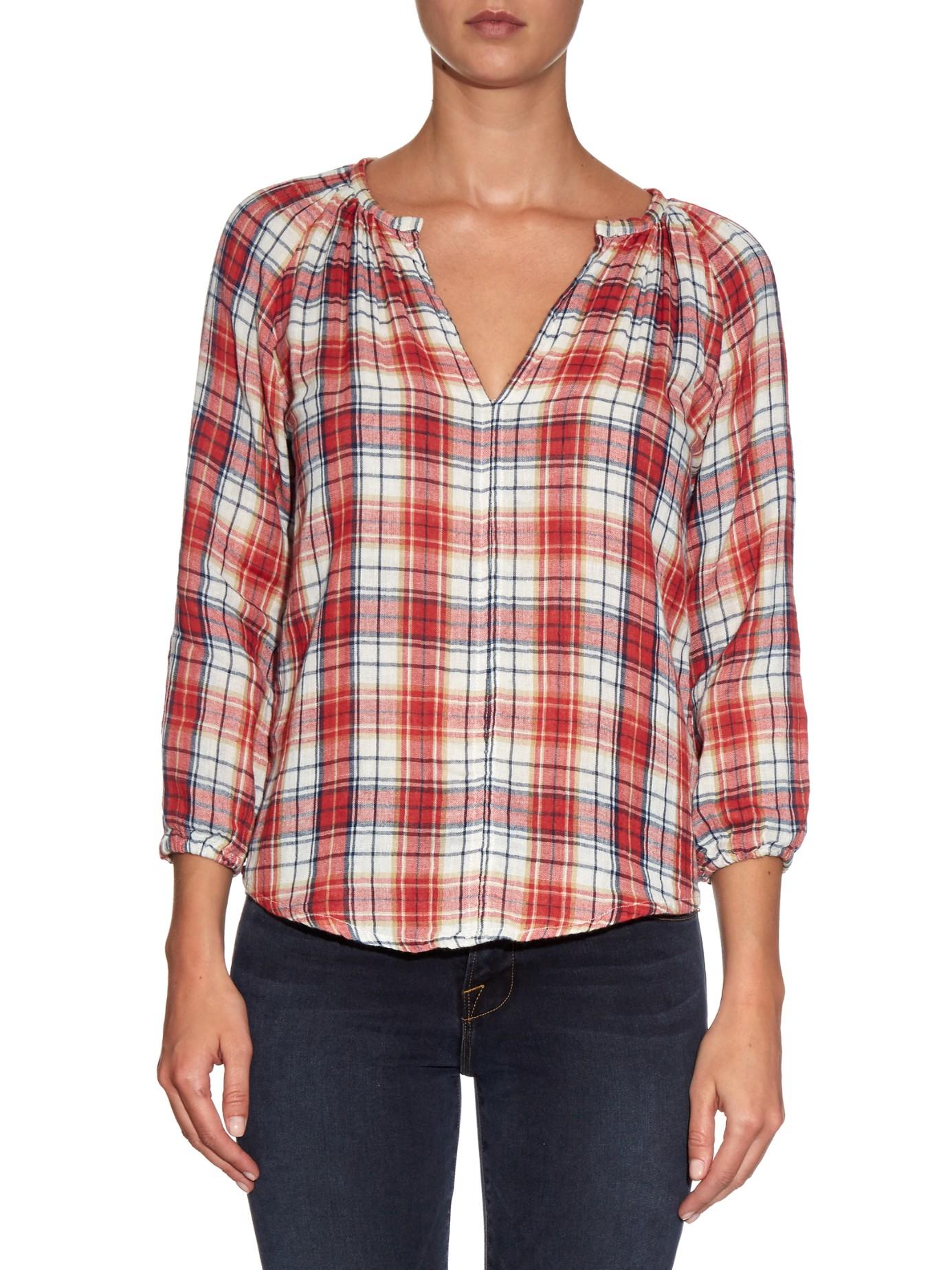 Lyst velvet by graham spencer plaid shirt in red for Red velvet button up shirt