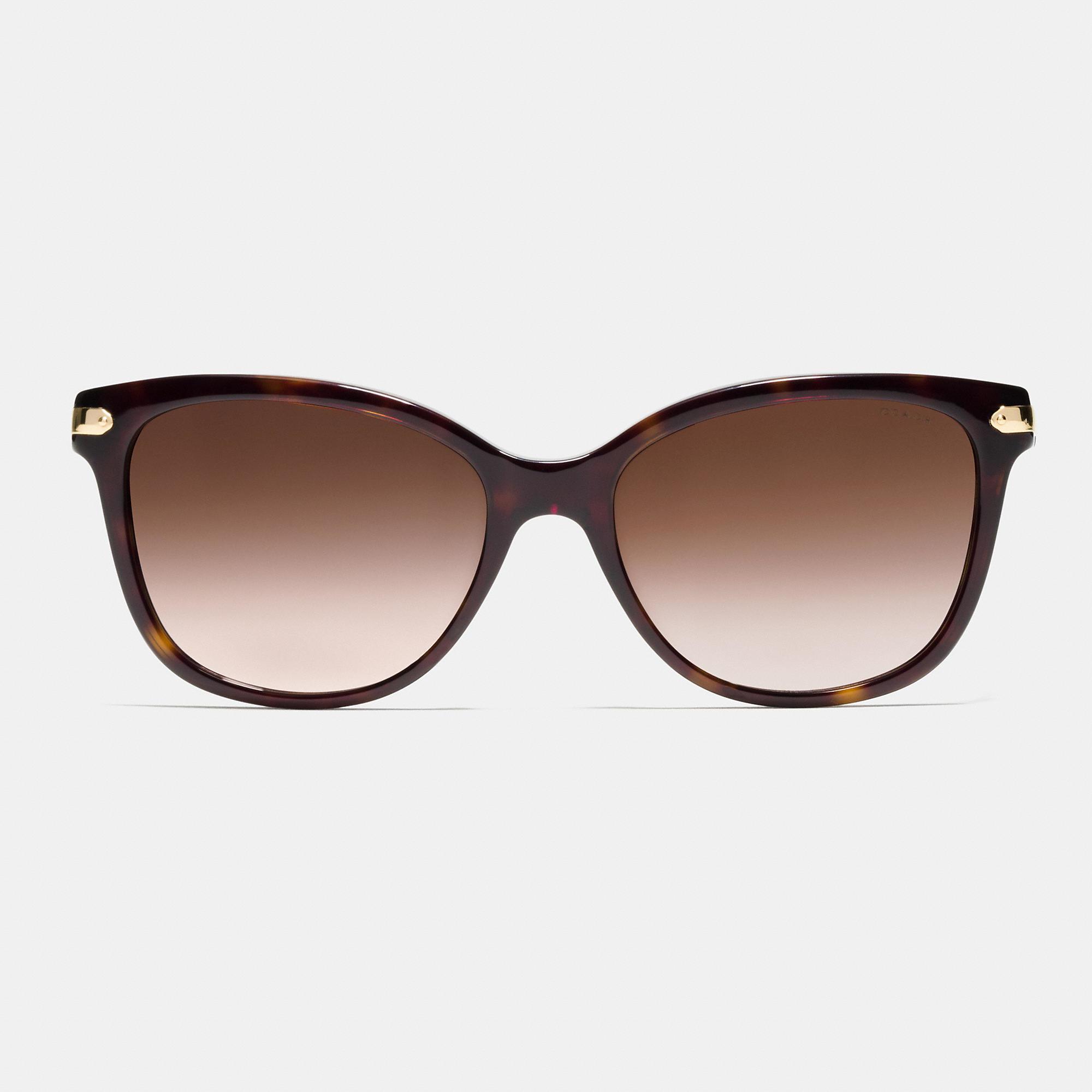 4ca1a8213543 ... closeout switzerland lyst coach tag temple cat eye sunglasses in black  07b45 a57c3 e769b 171ab ...