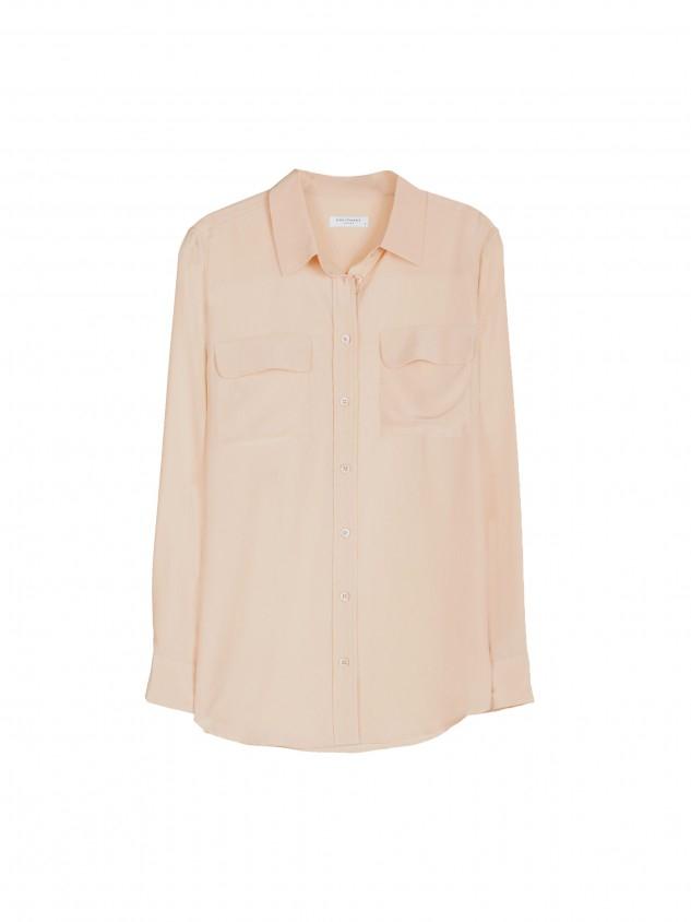 Equipment slim signature silk shirt in beige nude lyst for Equipment signature silk shirt