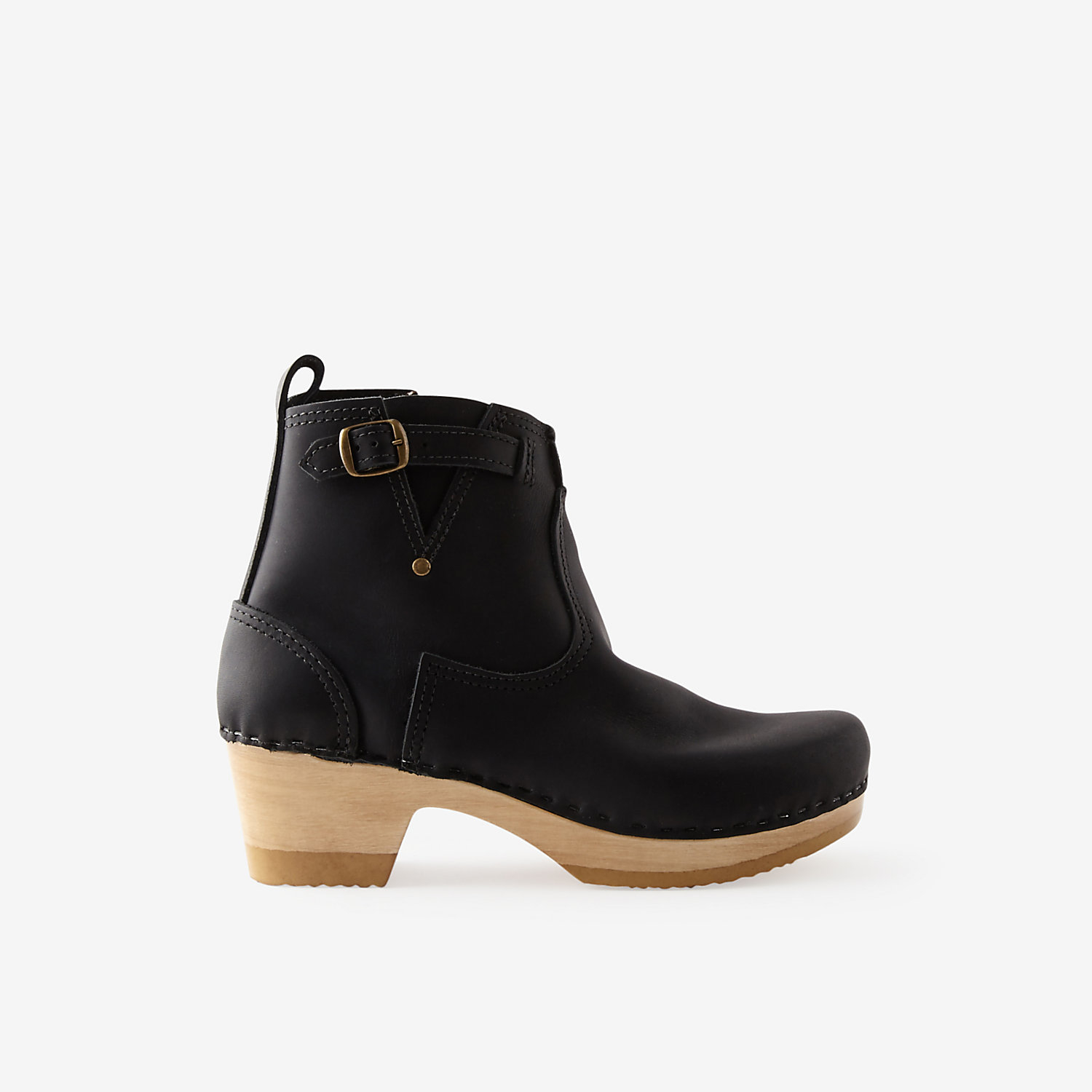 no 6 mid heel buckle boot in black lyst