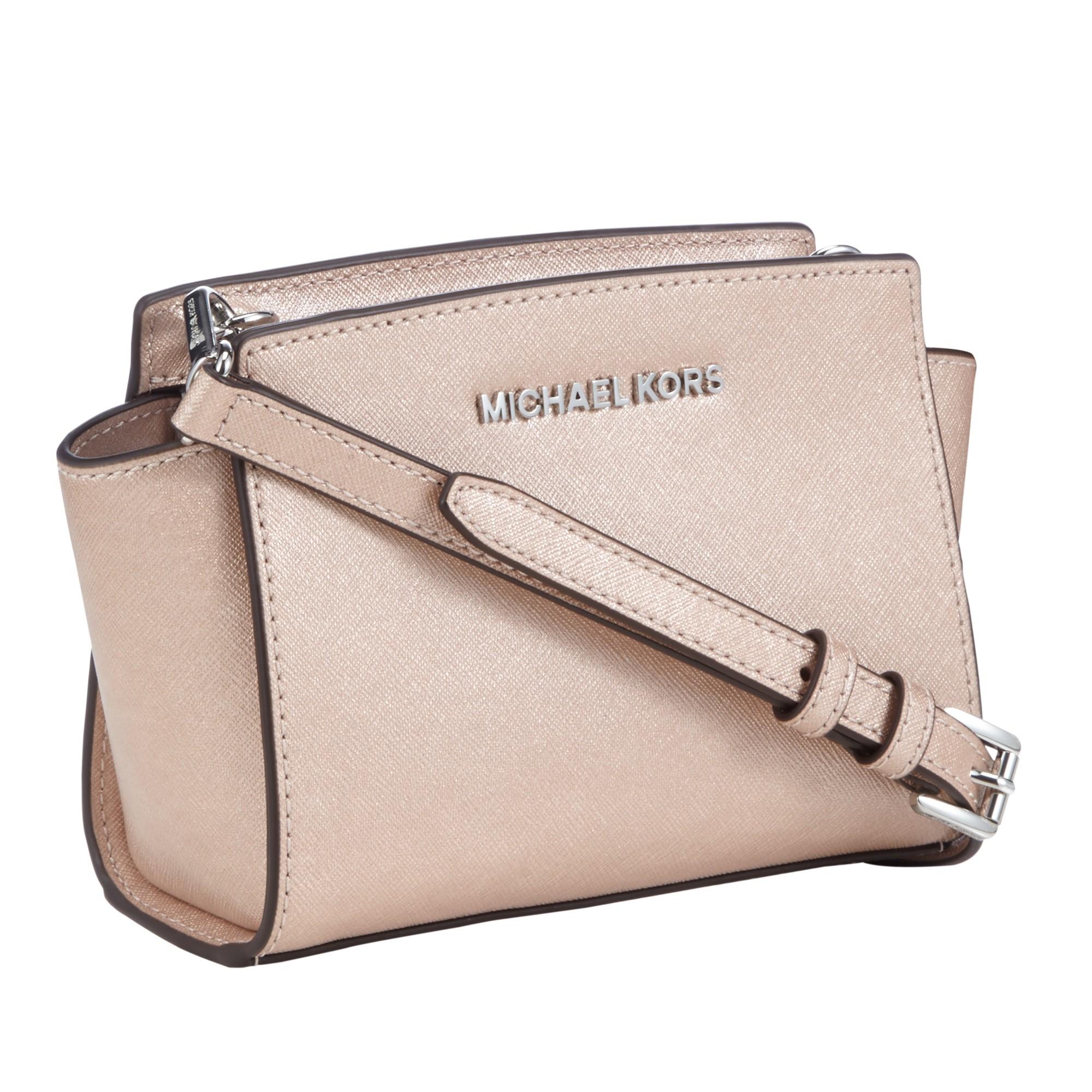264436fbbf27 MICHAEL Michael Kors Selma Mini Leather Messenger Bag in Natural - Lyst