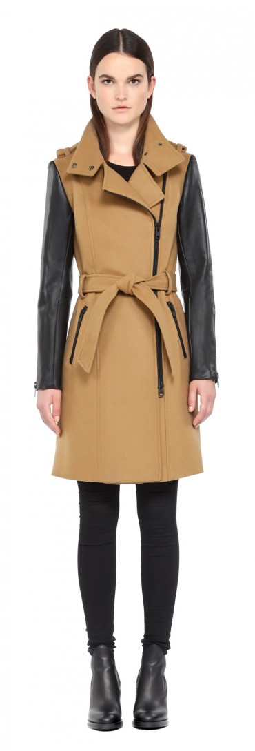 Mackage Dale-xm Long Camel Winter Wool Coat With Leather Sleeves ...
