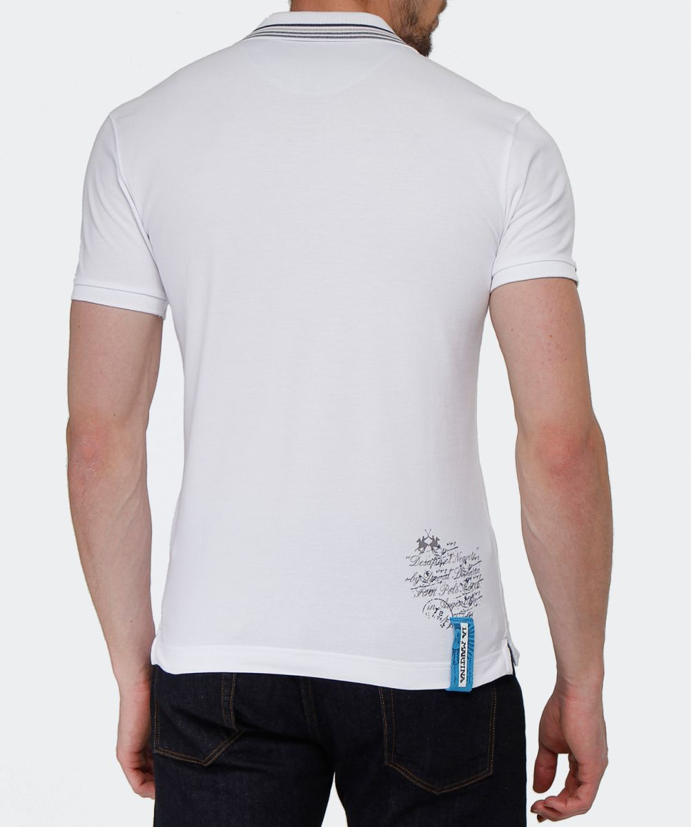 Lyst la martina slim fit logo polo shirt in white for men for White fitted polo shirts
