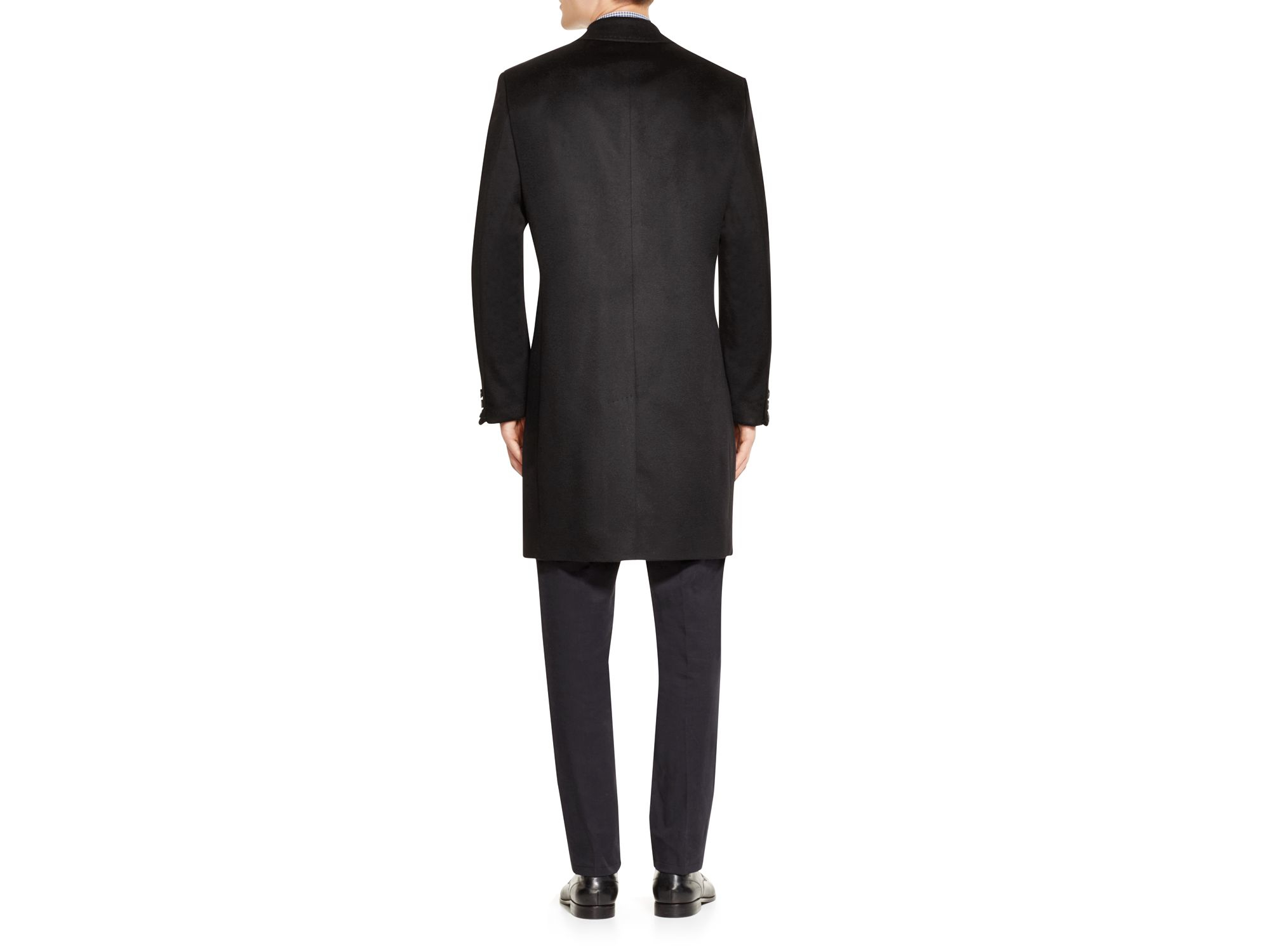 a147e234026c Lyst - BOSS Stratus Wool   Cashmere Regular Fit Topcoat in Black for Men