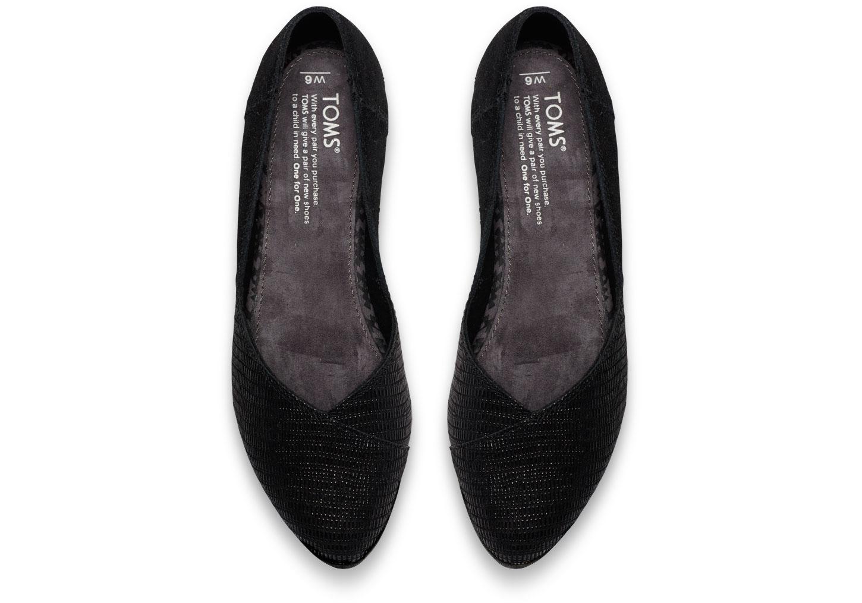 b22feb10964 TOMS Black Suede Emboss Women s Jutti Flats in Black - Lyst