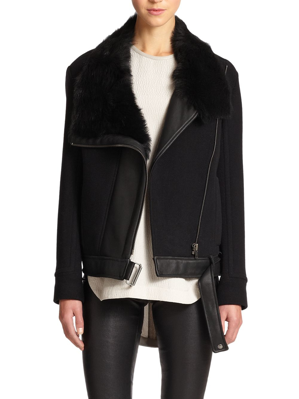 Helmut lang Inclusion Leather & Shearling Jacket in Black | Lyst