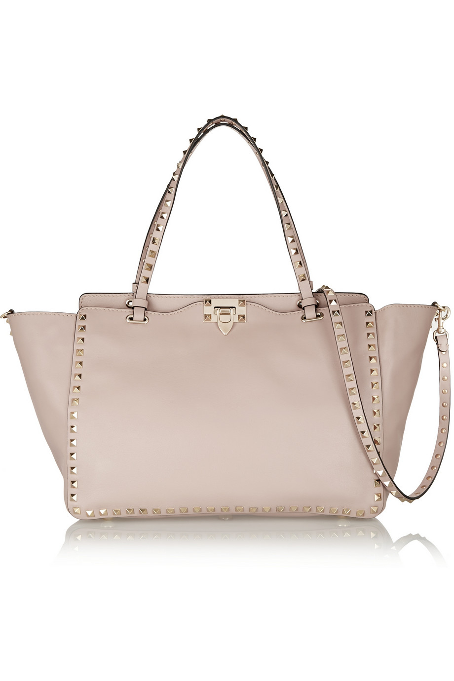 valentino the rockstud medium leather trapeze bag in pink