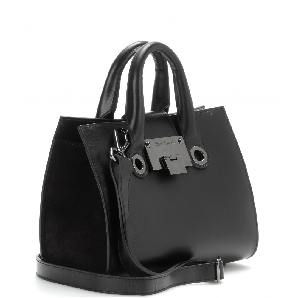 674bd00594d Lyst - Jimmy Choo Riley Small Leather And Suede Tote in Black