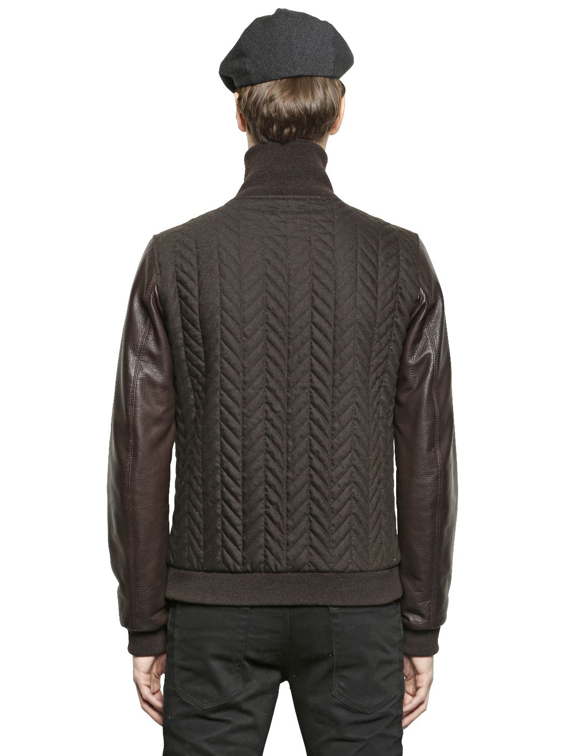 Lyst Dolce Gabbana Quilted Wool Flannel Bomber Jacket