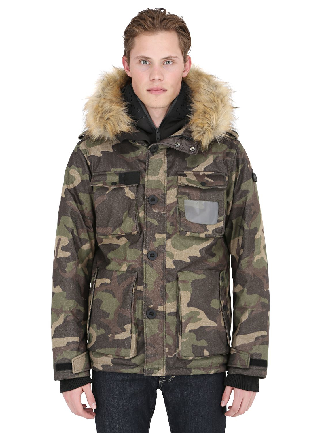 Mens camo jacket with fur hood
