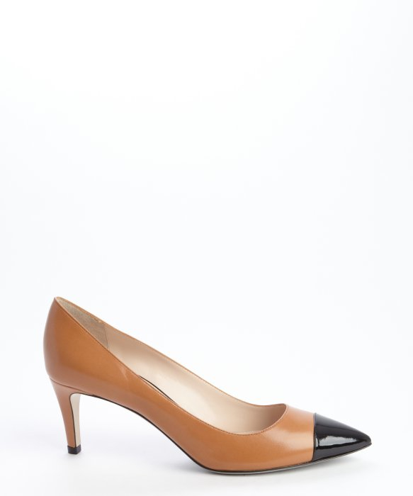 Armani Tan And Black Leather Pointed Cap Toe Pumps in Brown - Lyst