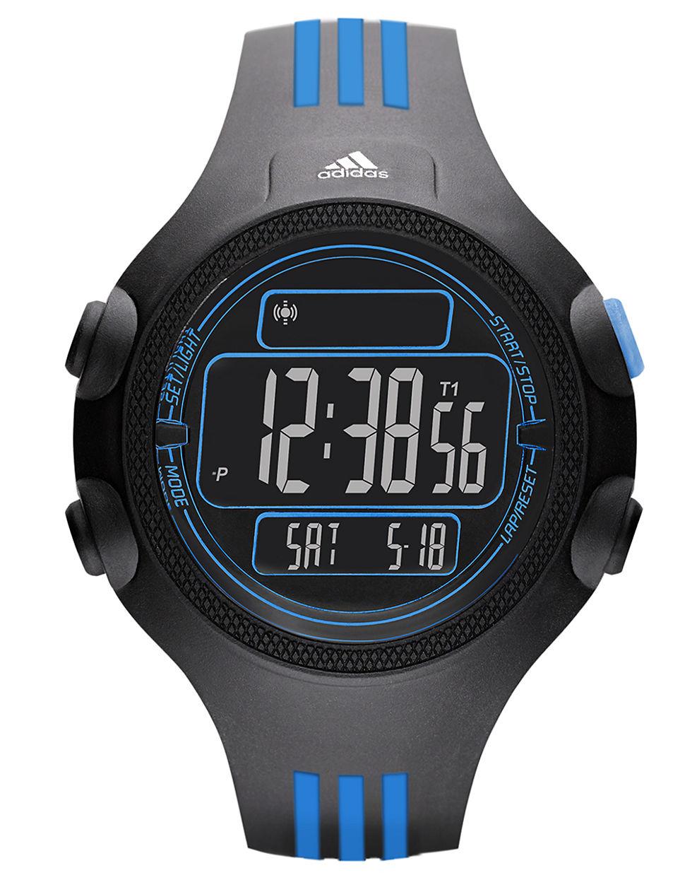 adidas mens questra black and blue digital chronograph