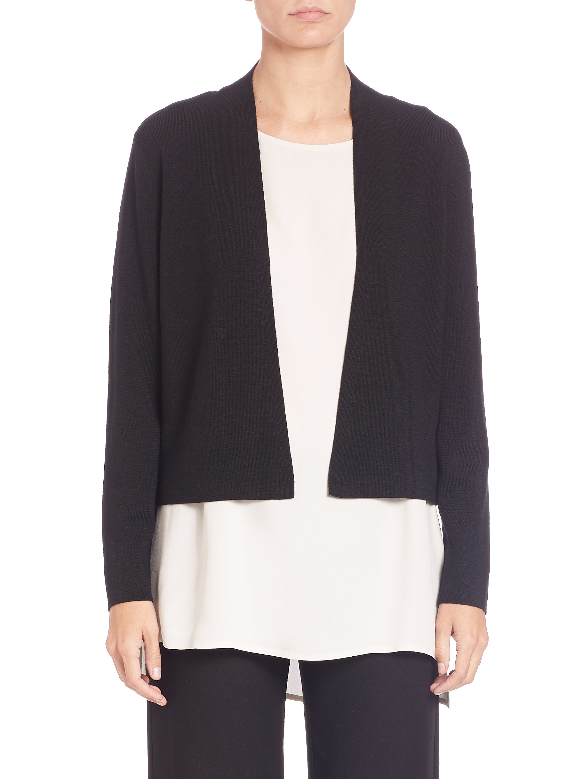 Eileen fisher Merino Wool Ribbed Short Cardigan in Black | Lyst