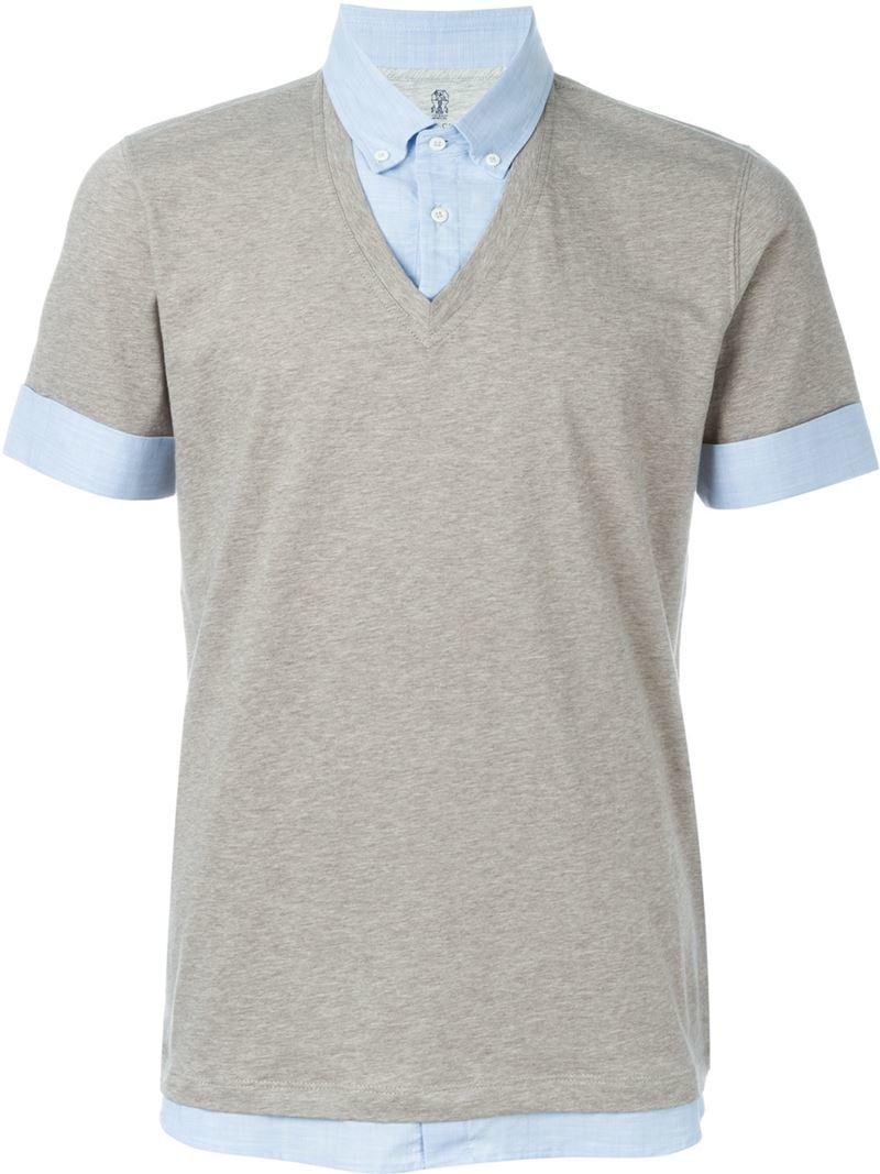 Brunello cucinelli button down collar layered shirt in for Mens grey button down dress shirt