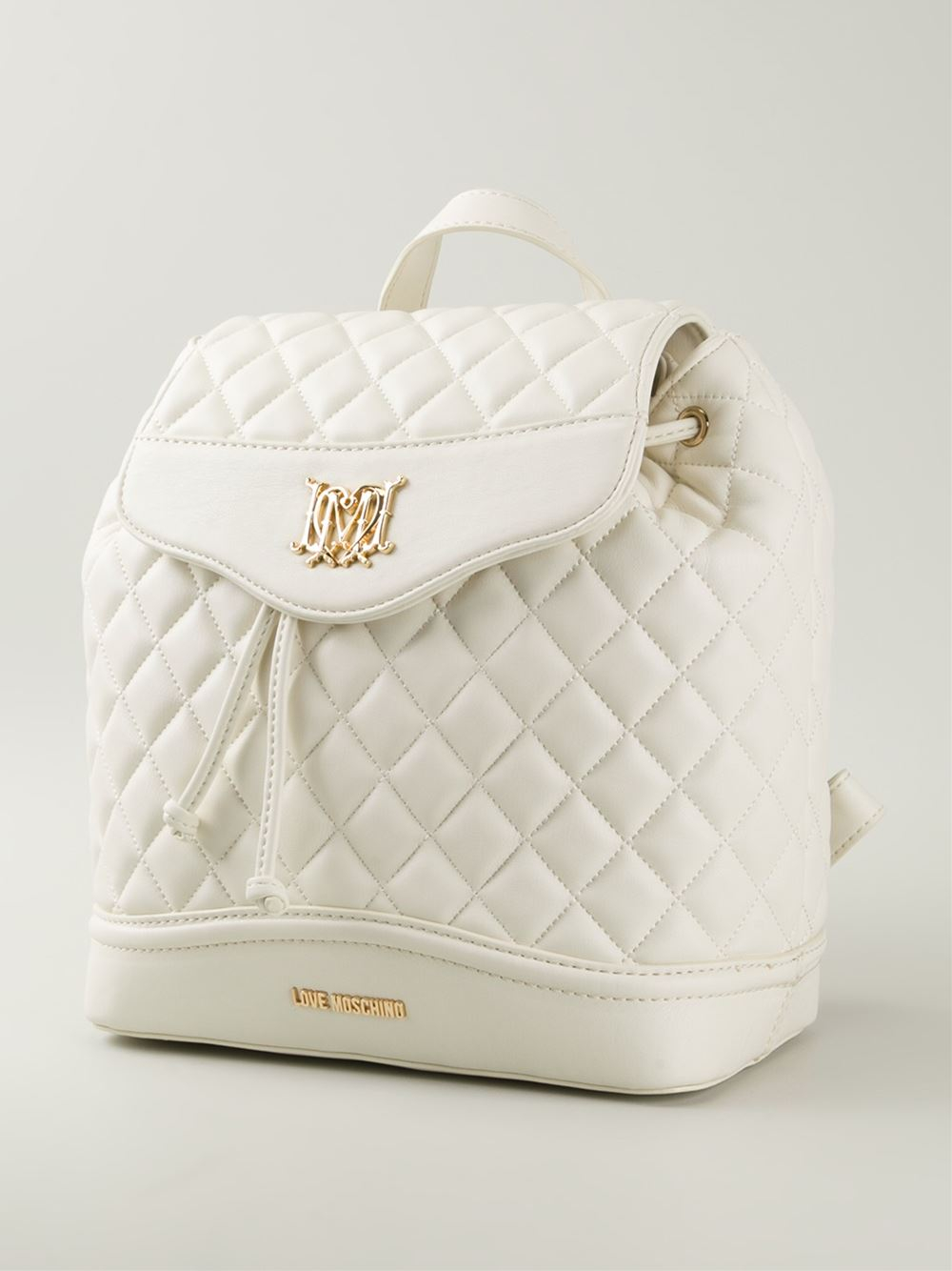 love moschino quilted backpack in white lyst. Black Bedroom Furniture Sets. Home Design Ideas